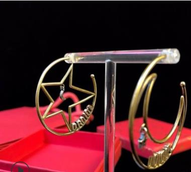 D House Irregular Pentagram Earrings Moon Star Earrings Dijia JA Letters Star Moon Earrings Large Circle Ms.