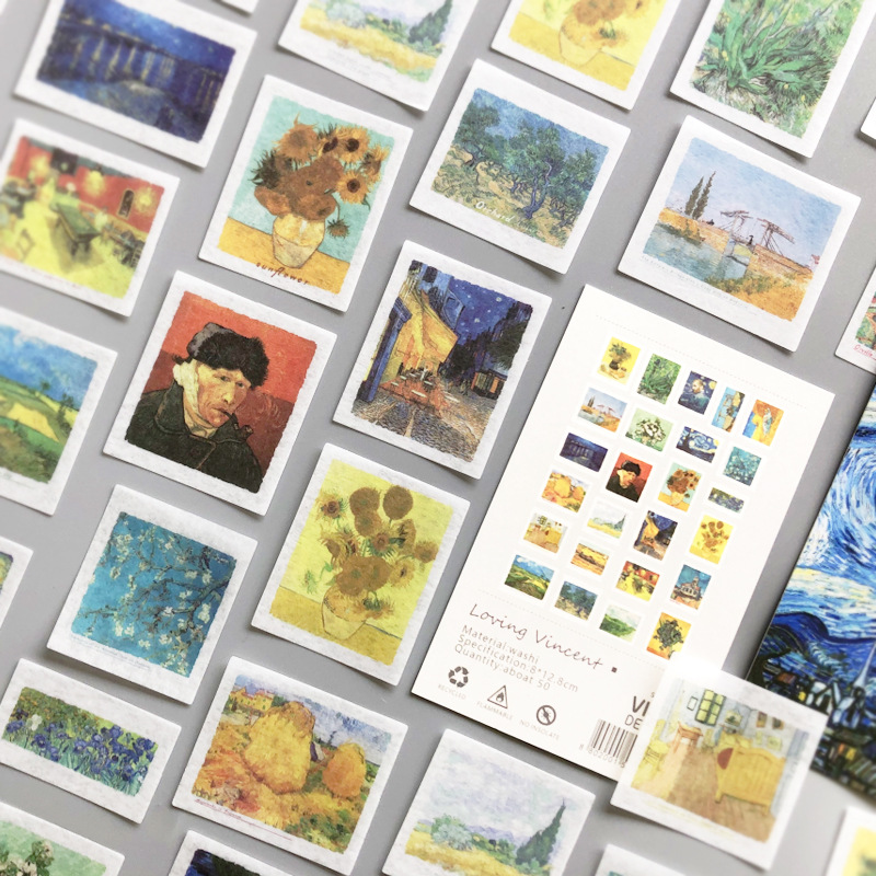 50 pcs/lot loving vincent  Decorative Stickers Scrapbooking Stick Label Diary Album Van Gogh stationery Stickers