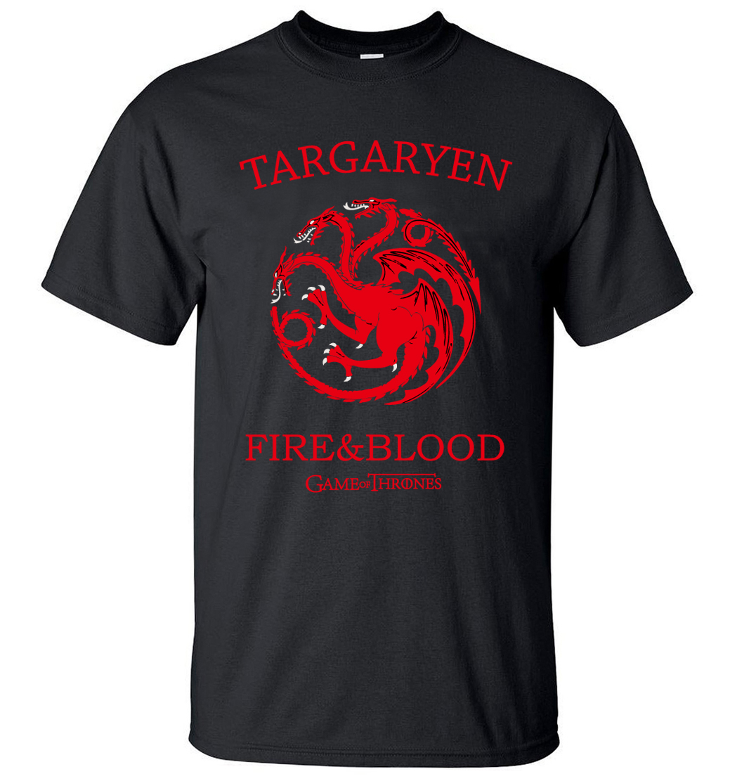 Targaryen Fire & Blood Game of Thrones Men T Shirts 2019 Summer T-Shirt 100% Cotton High Quality Top Tees S-3XL Camisetas Hombre