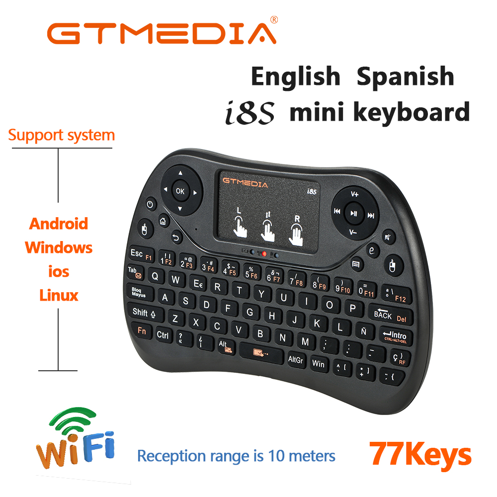 Wireless-Keyboard Touchpad Laptop Spanish Mini Android Remote-Control English-Air-Mouse title=