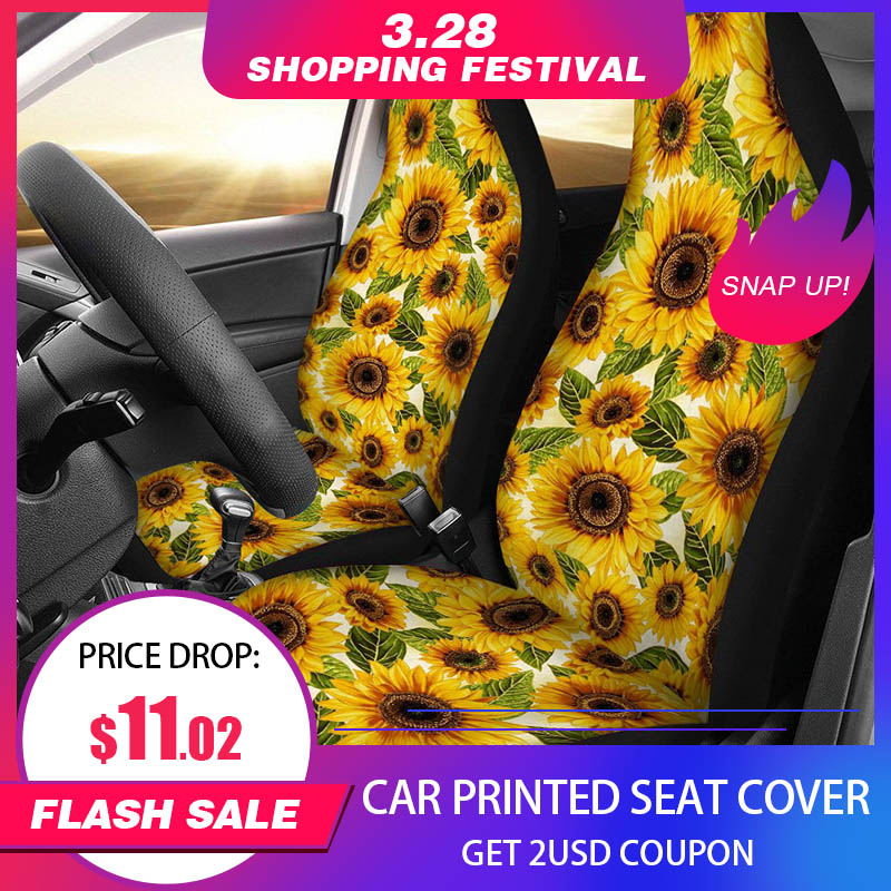 17 Styles Car Seat Cover Sunflower Animal Skull Printing Four Seasons 1pcs Universal Size Seat Covers Car Seat Protector title=