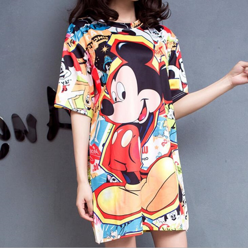 Fashion Summer T Shirt Women tshirt Cartoon Mouse Printing Loose Casual Tees Women Short Sleeve Tops title=