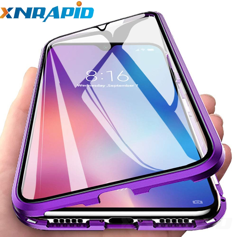 Double Sided Tempered Glass Phone Case for Xiaomi Mi A3 A3Pro A3Lite Magnetic Adsorption Metal Phone Back Cover Mi A3 Case luces led de policía