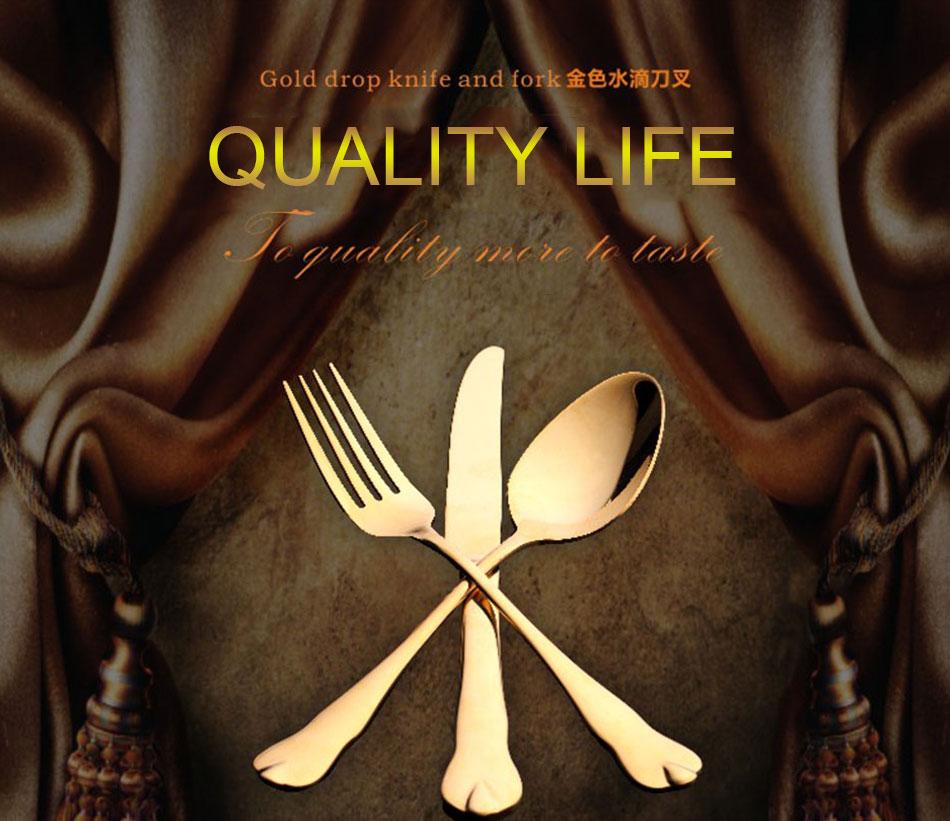 Luxury Gold Cutlery Set Stainless Steel Metal Dinnerware Set 3 Pieces Knife Fork Tableware Dining Dinner Western Food Kitchen (1)