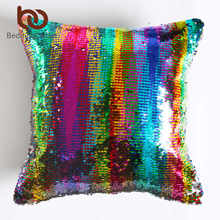 BeddingOutlet DIY Mermaid Sequin Cushion Cover Magical Throw Pillowcase 40x40cm Color Changing Reversible Pillow Case Xmas Gift(China)