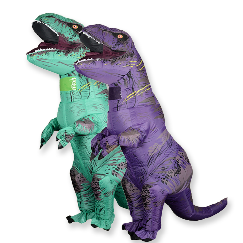 T Rex Velociraptor Inflatable  Costume Mascot Cosplay Dinosaur  Dino Halloween For Women Men Kid