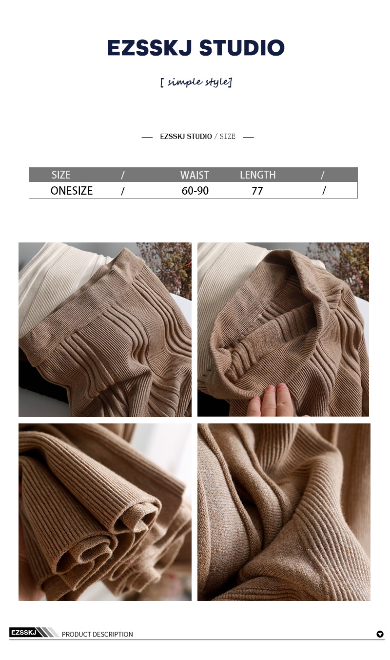 Vintage Winter Women thick sweater skirt Elastic High Waist Pleated Midi knitted Skirt A-line female solid elegant Skirts 1