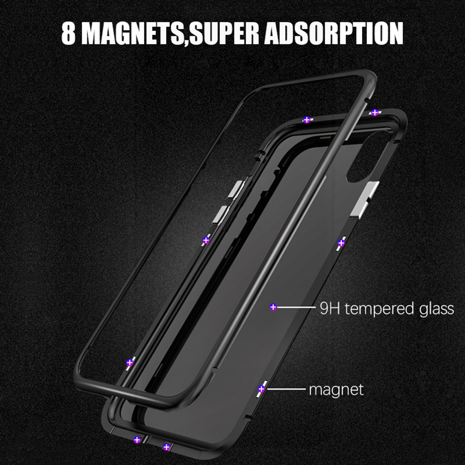 magnetic adsorption metal phone case for iphone 6 6S plus 7 8 plus x xs max xr(10)
