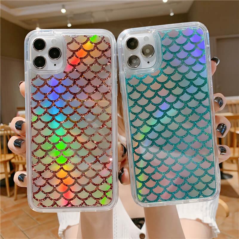 Placage paillettes écaille de poisson liquide quicksand étui pour iphone xr étuis de téléphone pour iphone 8 7 Plus 11 Pro max x xs couverture funda