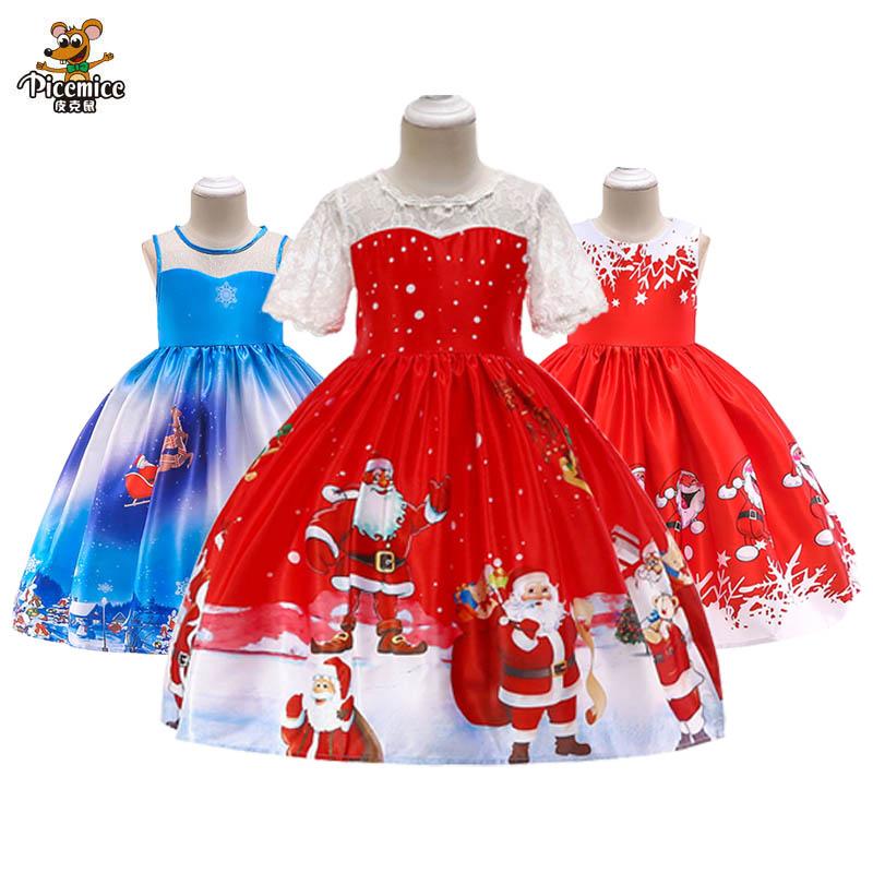 Christmas Toddler Baby Girl Santa Striped Princess Dress  Ball Gown Kids Clothes