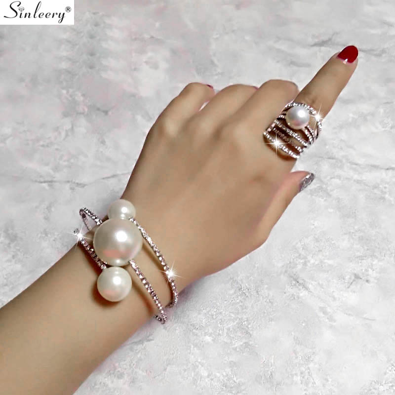 SINLEERY Bangle-Rings-Set Jewelry-Sets Bracelet Pearl Silver Wedding Gold-Color Women title=