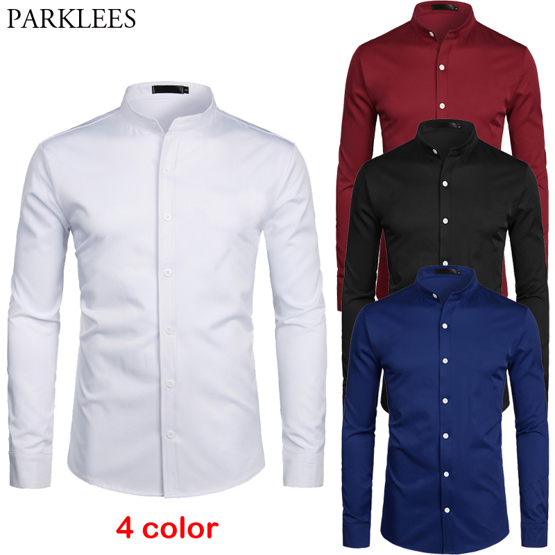 Dress Shirt Chemise Banded-Collar Slim-Fit Business Office-Work Long-Sleeve Casual-Button title=