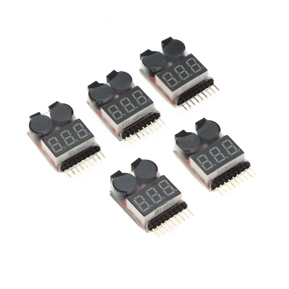 5PCS 1-8S Indicator Li-ion Lipo Li-Fe Battery Tester Low Voltage Buzzer Alarm for RC Car Drone Quadcopter Boat Model Part (3)