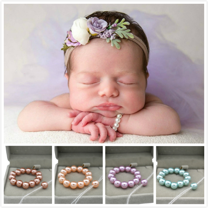 Baby Pearl Bracelets And Headband Newborn Baby Photography Props Pearl Headdress Baby Jewelry Infant Sea Theme Shoot Accessory