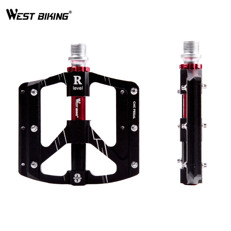 WEST BIKING Bike Pedal MTB Road Bicycle Pedals Purple Aluminum Alloy Platform 3 Sealed Bearing Ultralight Cycling Bike Pedals