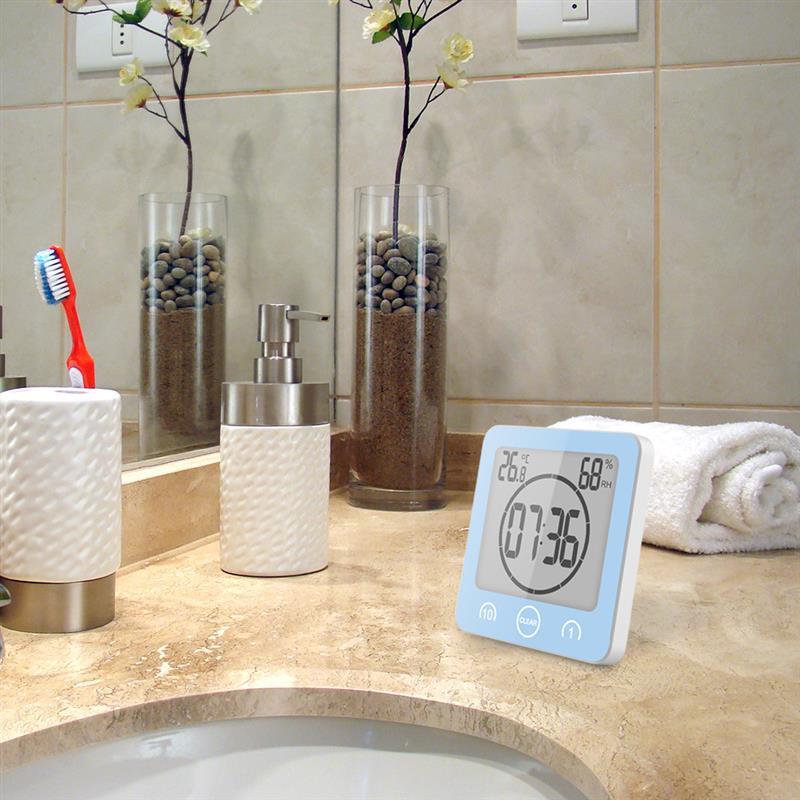 Relógio De Chuveiro Impermeável Alarme Timer Contagem Regressiva de sucção Banho De Parede Banheiro