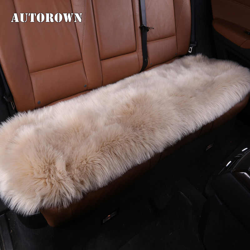 AUTOROWN High Quality Plush Four Seasons Artificial Long Fur Rear Car Seat Cover Cushion Sheepskin Universal Size Four Most Car