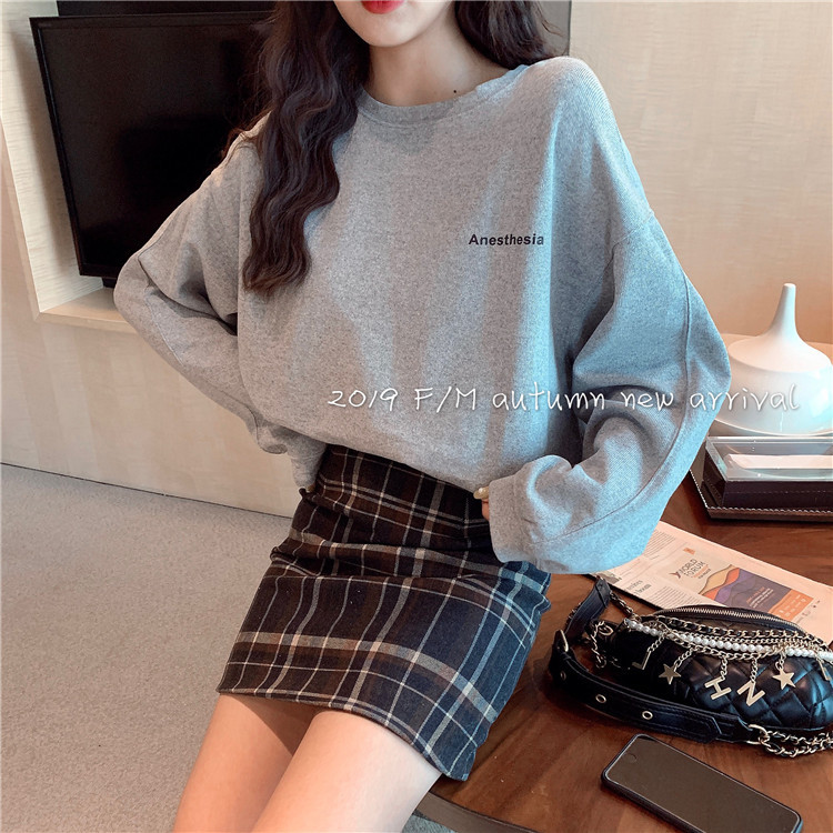 2020 Spring And Autumn New Youth Popular Korean Ins Loose Letter Print Sweatshirt Fashion Casual Pullover White / Gray One Size