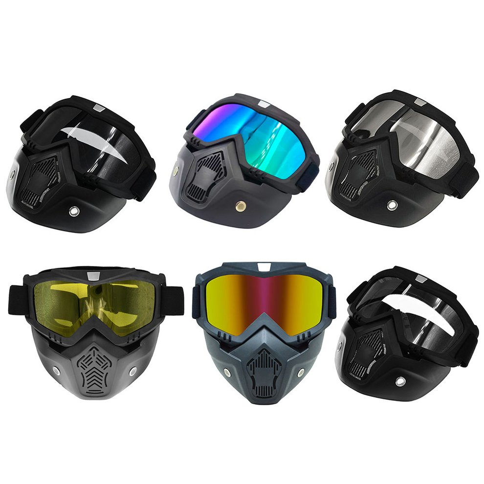 Mask Goggles Helmet-Glasses Shark-Helmet Open Face Motocross Retro Windproof title=