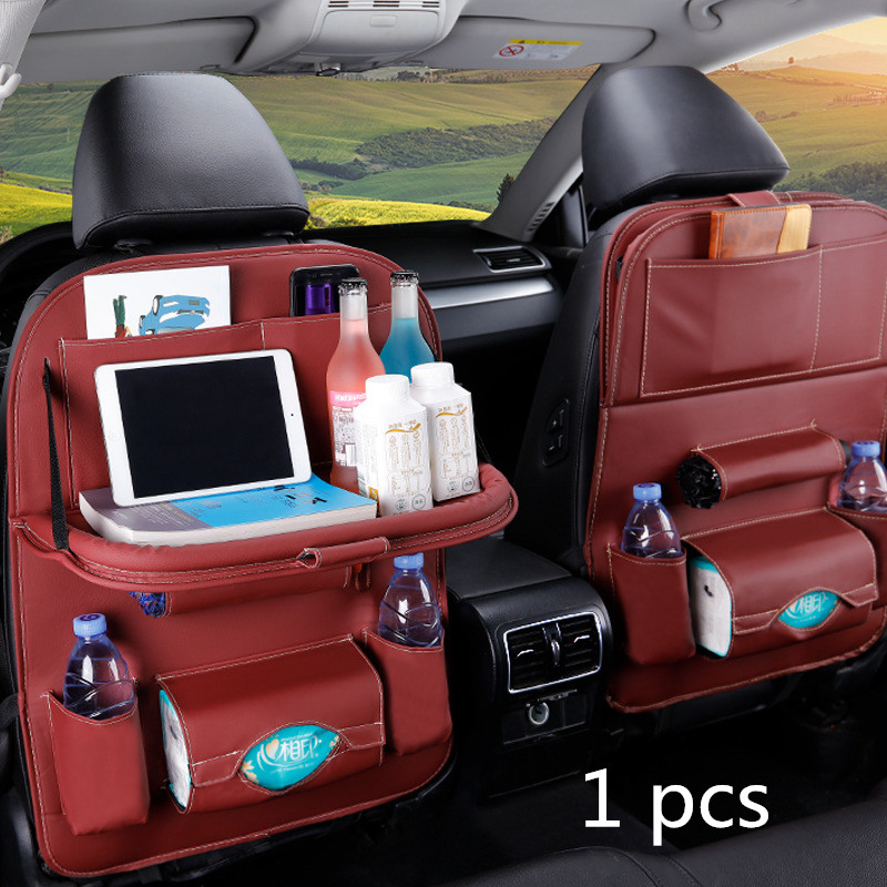 Backseat Car Organizer 13 Storage Pockets Car Organizer with Tray Tissue Box 4 USB Charging Ports Car Seat Organizer with Foldable Table Tray Accommodates Children and Kids Travel Needs