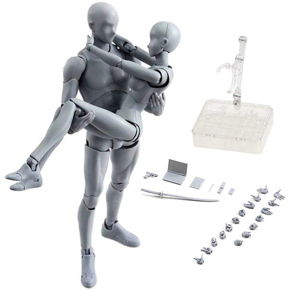 SH.Figuarts Body-Kun DX Body-Chan DX Set Action PVC Figure Grey Color Ver.In Box
