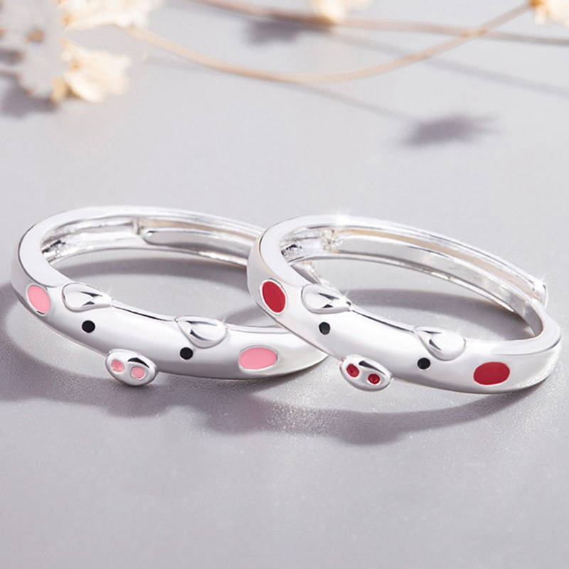 Fashion  Pink Enamel Pig Rings Popular Lucky Piggy Animal Couple Opening Ring Women Man Jewelry Valentine