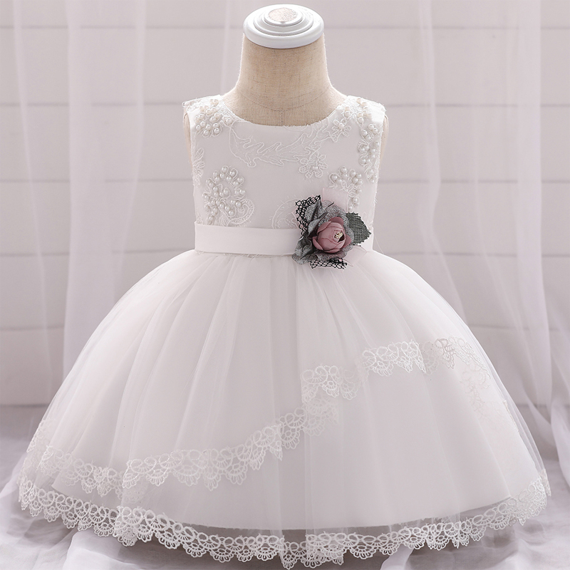 Baby girls white floral christening dress gown 3-12 months