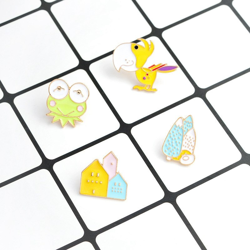 Frog Bird Tree House Hard Enamel Pin Cute Animal Brooches Badges Gift For Girls Boys