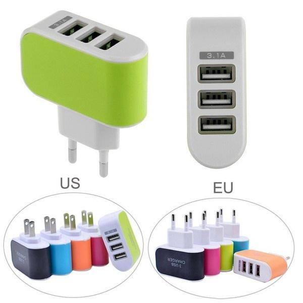3 Port USB Charger Mobile Phone EU / US Plug Charger Travel Wall Charger Adapter For iPhone for Xiaomi for Samsung Phone Charger