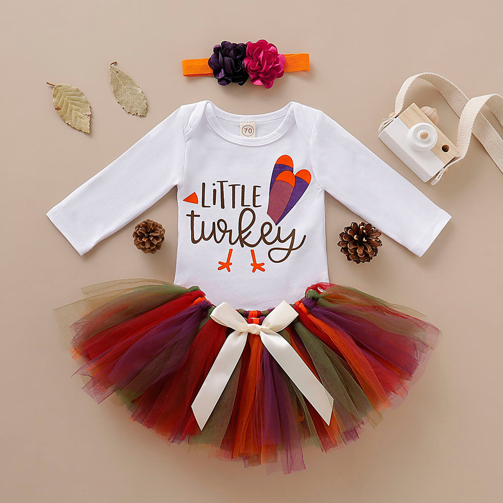 Newborn Infant Baby Girl Thanksgiving Romper Fancy Tutu Dress Outfit Clothes US