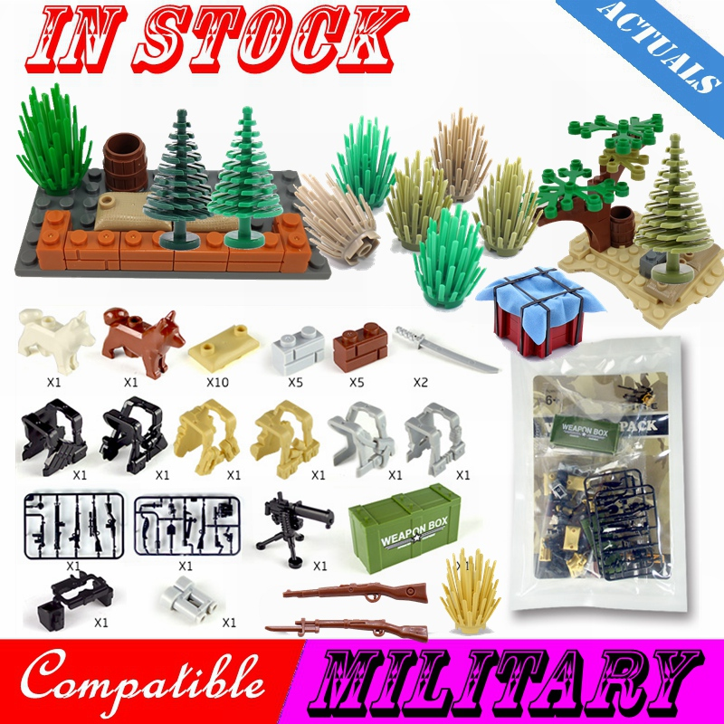 Military Tree Grass WW2 Weapon Box Sandbag Figures Guns City Army Weapons Accessories Parts Building Blocks Toys Military Cities