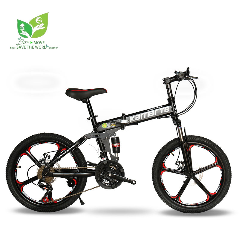 Mountain-Bike Folding Bicycle 21-Speed Kids 20--Inch Brakes Student for 6-10-Years-Old title=