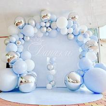 144pcs Metal Blue Balloon Boy Girl Baby Shower Birthday Party Decoration Kids Baby Ballon Globos One Year Birthday Balloon Arch