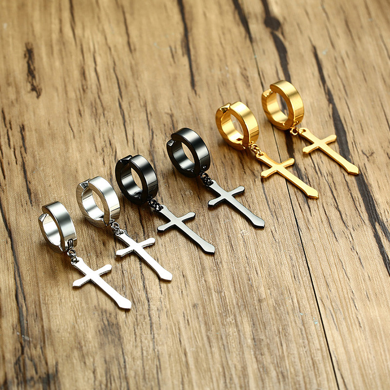 Black-Gold-Silver-Color-Stud-Earrings-For-Women-Men-Punk-Small-Circle-With-Cross-Stainless-Steel