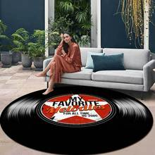 Round-Carpets Computer-Chair Area-Rugs Floor-Mat Record-Print Bedroom Living-Room Home-Decor