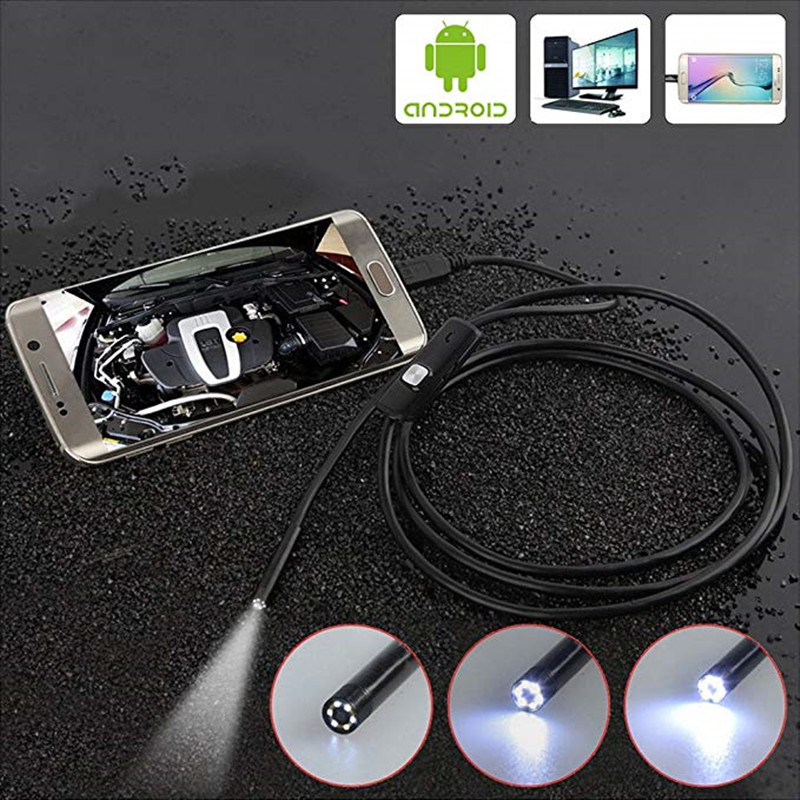 5.5mm/7mm Lens Android Endoscope Camera 1M 2M 5M Semi Rigid Hard Cable Led Light Borescope Inspect Camera For PC Android Phone