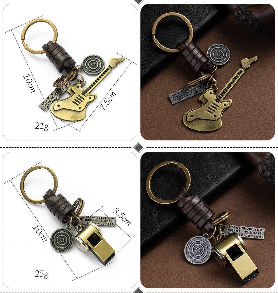 Fashion Car Key Chain Ring Lovers Couple Music Guitar Keyboard Gamepad Elephant Whistle Hat Tank Motorcycle Scooter for Key Tags Gifts (123)