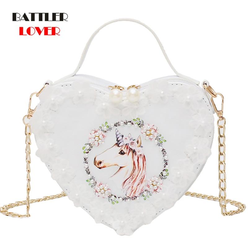 New Heart Shape Bag White Swan Embroidery Handbag Japan Lolita Flowers Purse Mini Shopping Bag Womens Leather Chain Shoulder Bag