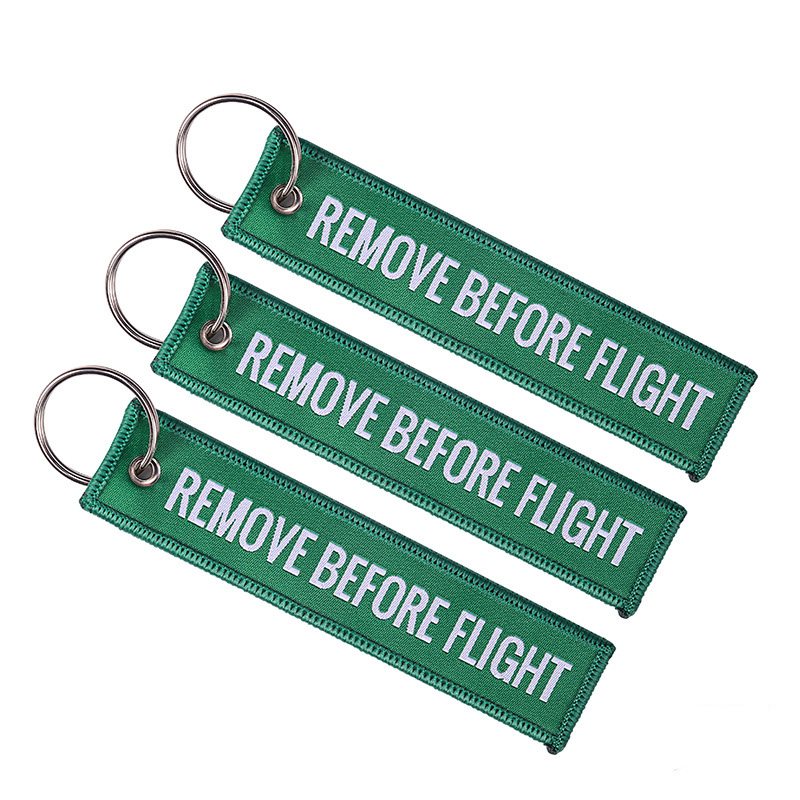 Fashion Remove Before Flight Tags Keychain Keyring Rectangle Polyester Embroidery Message Multicolor 13*3CM