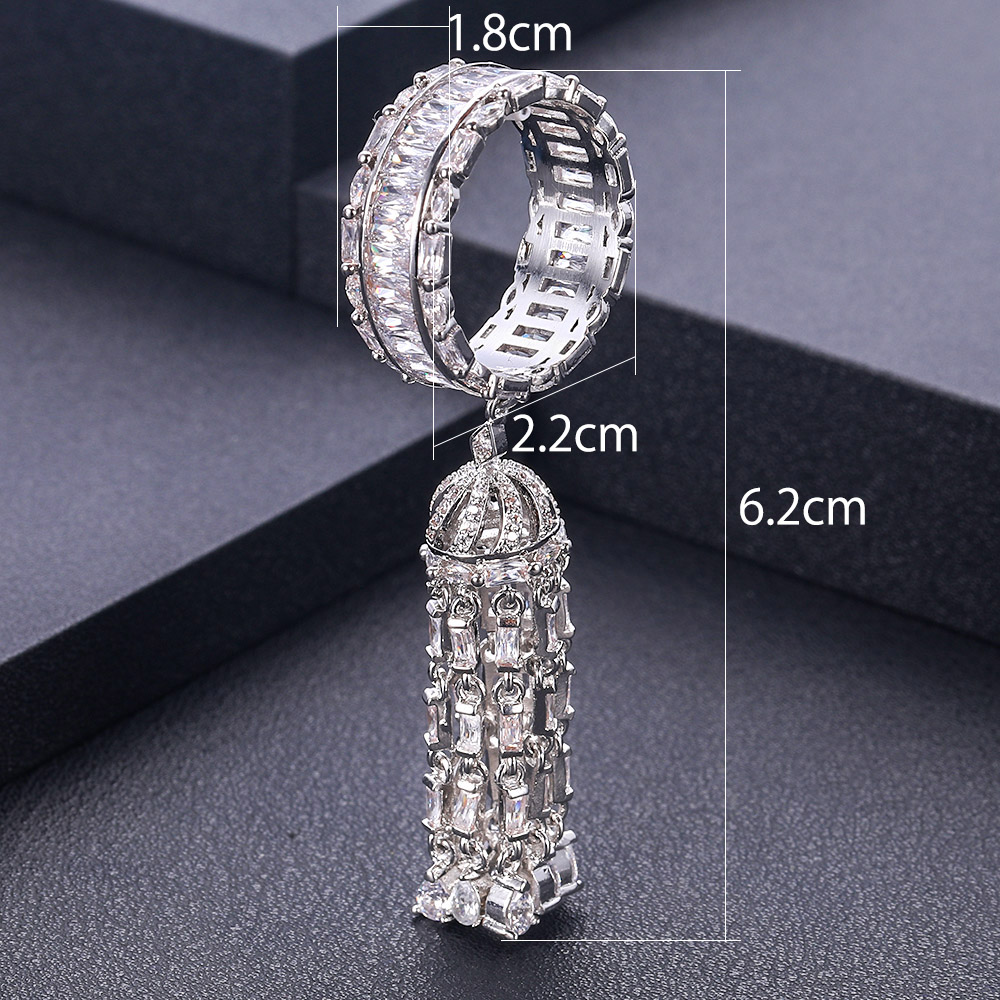 jankelly New Hot Indian African Dubai Wide Full Prong CZ Rings For Women Superstar Party Show Jewelry Individuality Attrective