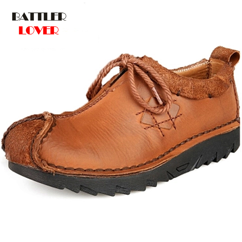 Men Cowhide Casual Shoes Sneakers 2019 High Quality Vintage 100% Genuine Leather Shoes Men Cow Leather Soft Flats Driving Shoes