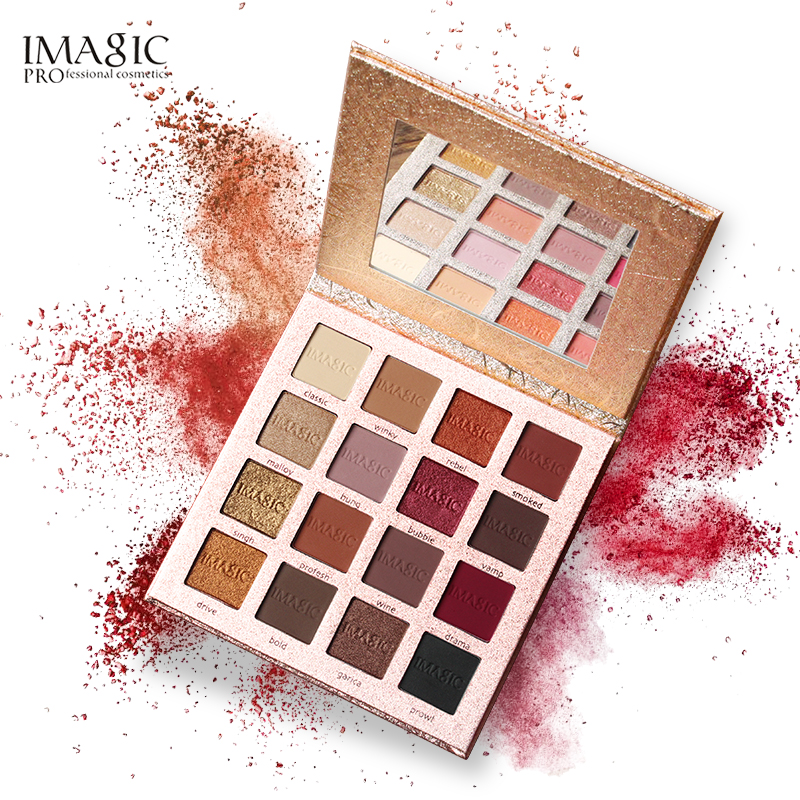 IMAGIC Новое поступление очаровательных теней для век 16 цветов, палитра для макияжа, матовые мерцающие пигментированные тени для век, пудра