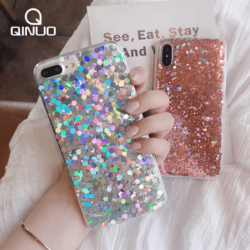 QINUO 3D Glitter Unicorn Phone Case For