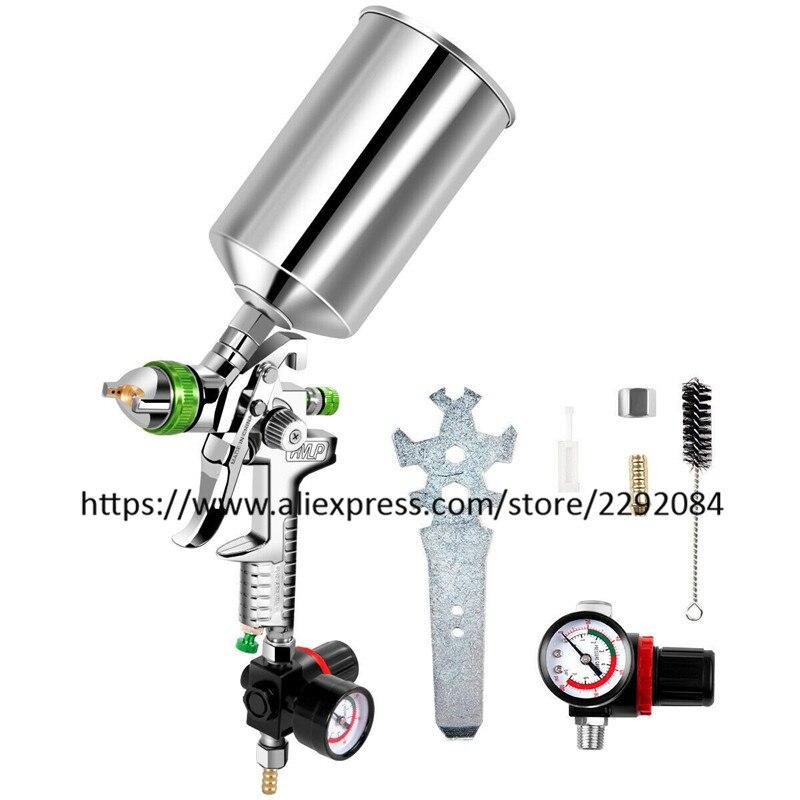 1000ml Aluminum Kettle 2.5mm Nozzle Paint Spray Gun With Pressure Regulator
