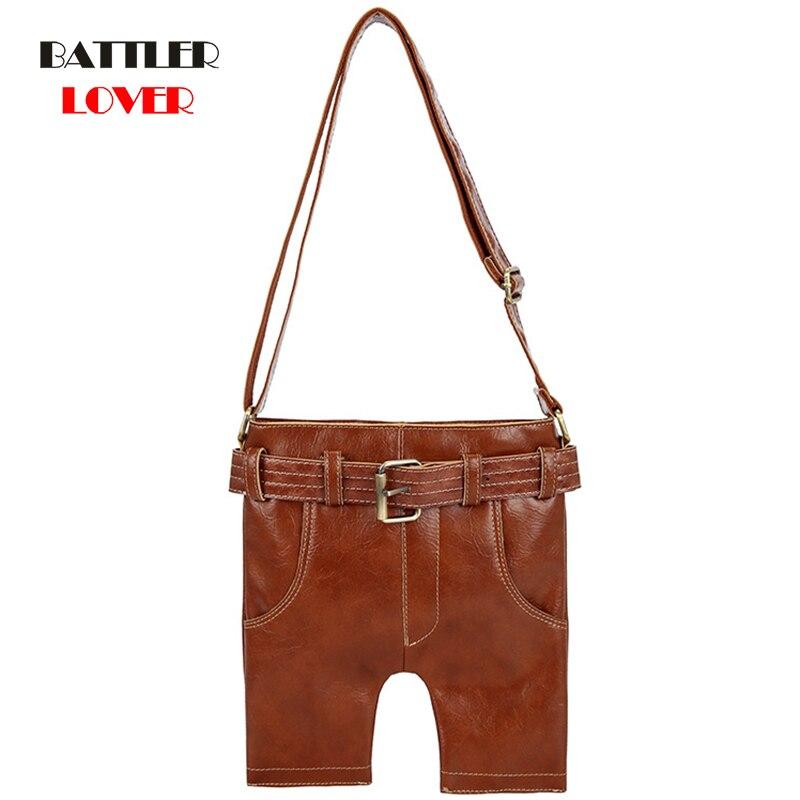 Denim Jean Shape Design Vintage Genuine Leather Bag Female Small Women Handbags Bags For Women 2020 Shoulder Crossbody Bag Femme