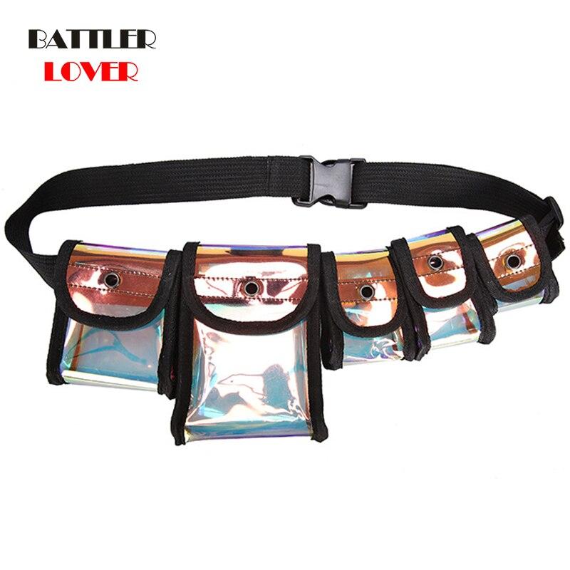 Unisex Chest Bag Hip Hop Tactics Bag Multi-pocket Satchel Crossbody Bagpack Street Cool Laser Waist Bags Transparent Men Women