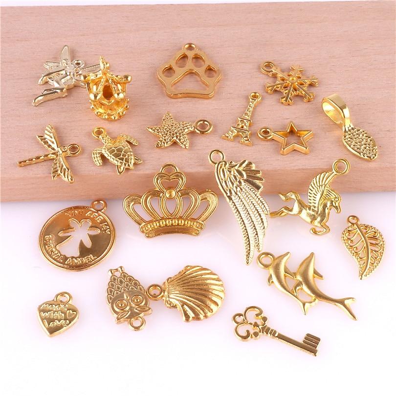 22227 20pcs Gold Alloy Enamel Plante Leaf Pendant Lovely DIY Jewelry