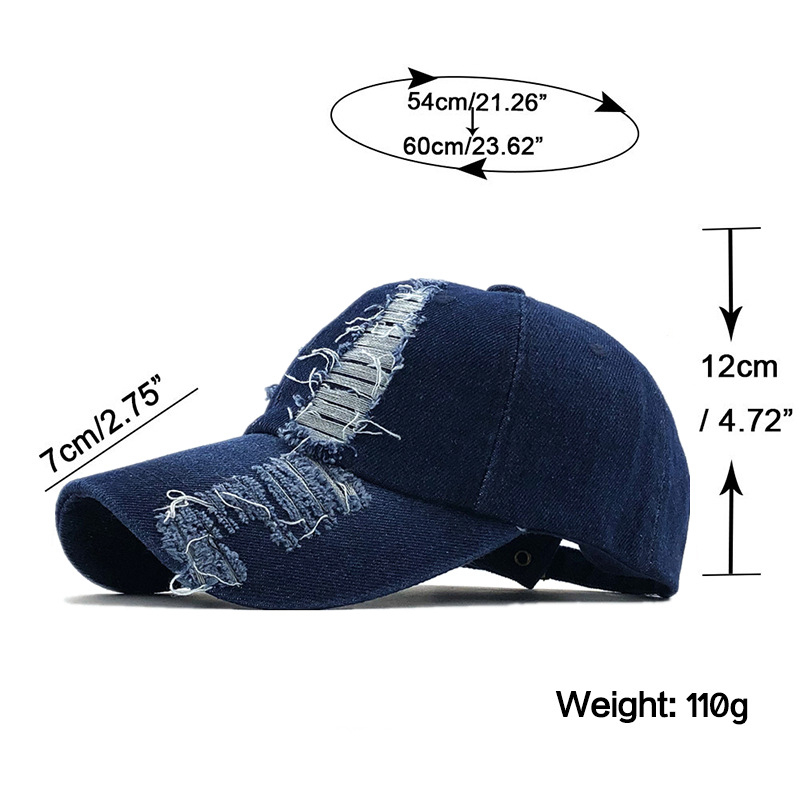 2020 spring and autumn fashion worn denim cap summer outdoor leisure visor hat trend hole baseball caps hip hop sport hats