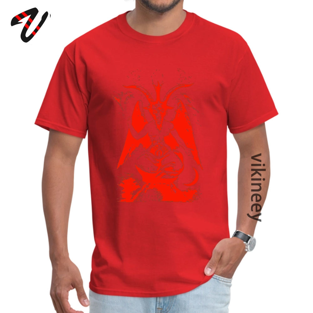 Red Baphomet Casual Father Day 100% Cotton Fabric Round Neck Men's Tops & Tees Tops & Tees 2019 Short Sleeve T Shirts Red Baphomet 9795 red