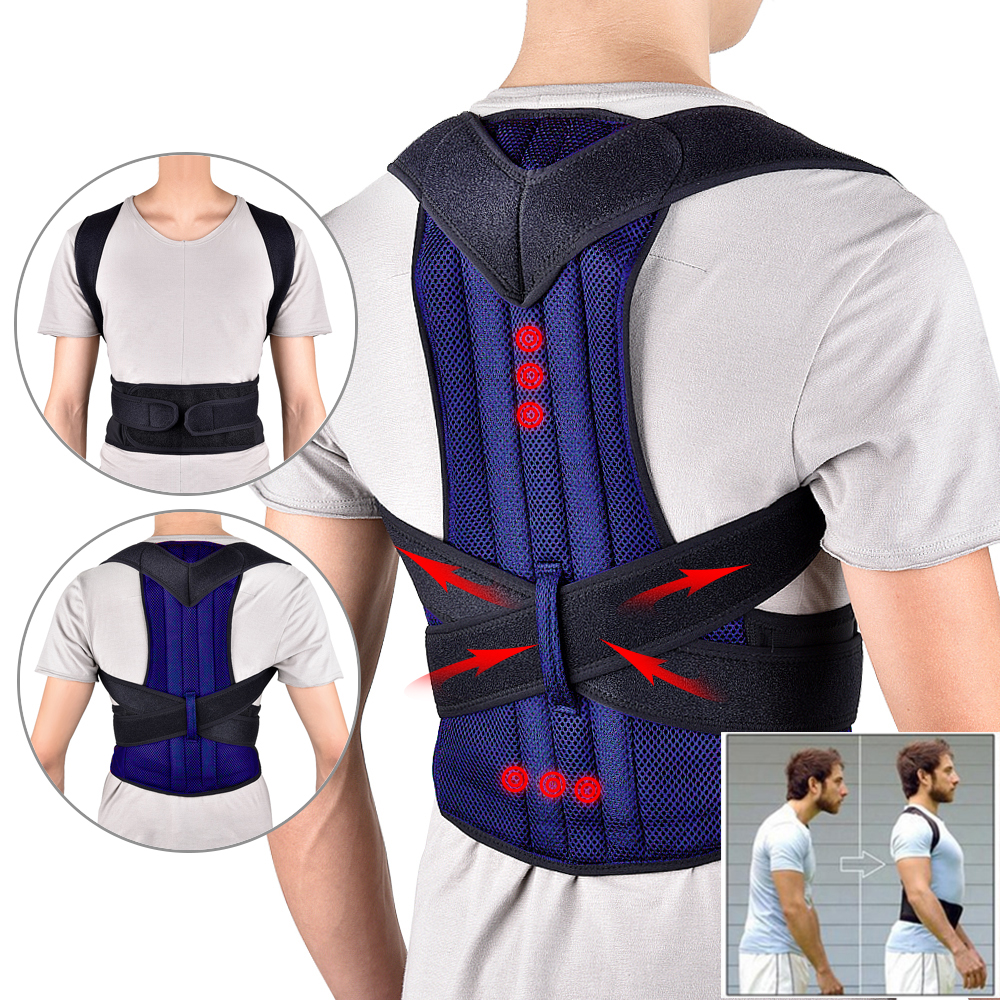 Apparel - Back Waist Posture Corrector Adjustable Adult Corset Correction Belt Trainer Shoulder Lumbar Brace Spine Support Belt Vest